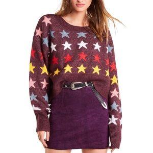 Wildfox Rainbow Stars Elektra Sweater Berry Large